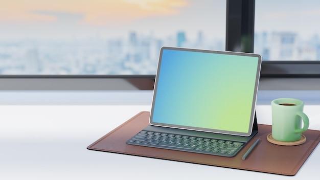 Tablet-computer mit tastaturetui, bleistift und grüner kaffeetasse auf braunem lederblatt am büroarbeitsplatz. 3d-rendering-bild.