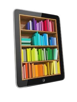 Tablet-computer voller bunter bücher
