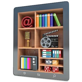 Tablet-pc-multimedia-konzept, isolierter weißer hintergrund
