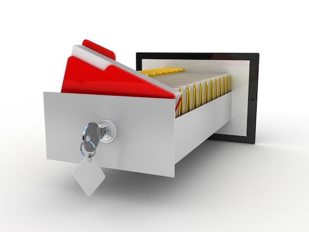 Tablet und bunte archivordner in bildschirm, 3d
