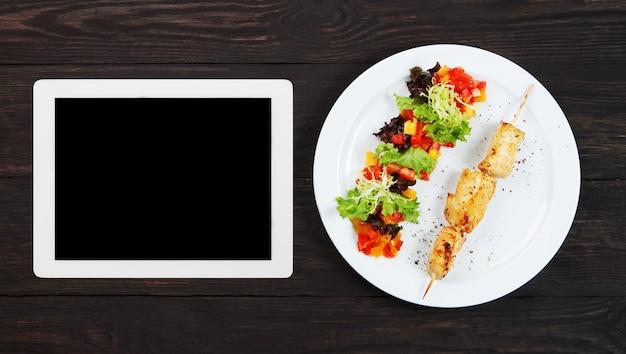 Tablet-vorlage für menürezept oder koch-app