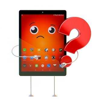 Tablet-zeichentrickfigur mit fragezeichen. 3d-illustration. enthält einen beschneidungspfad
