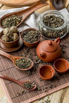 Tablett mit teekanne und tassen auf dem tisch