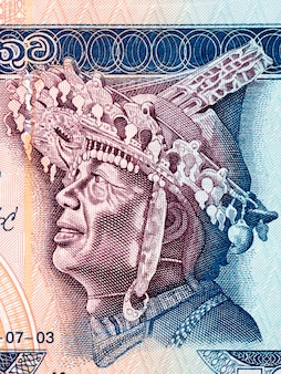 Tänzerin mit verziertem kopf, porträt aus altem srilankischem geld