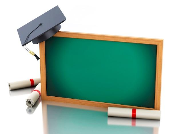 Tafel 3d mit diplomzertifikat und staffelungskappe.