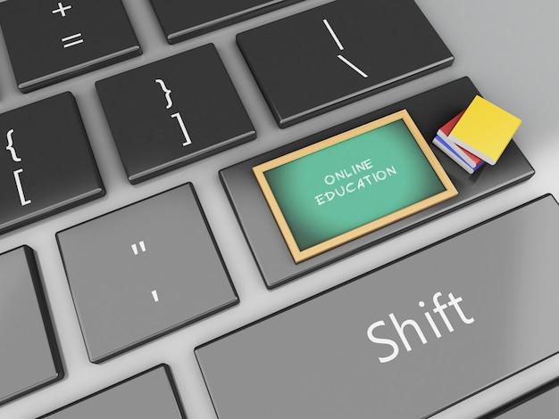 Tafel 3d und bücher auf computertastatur.
