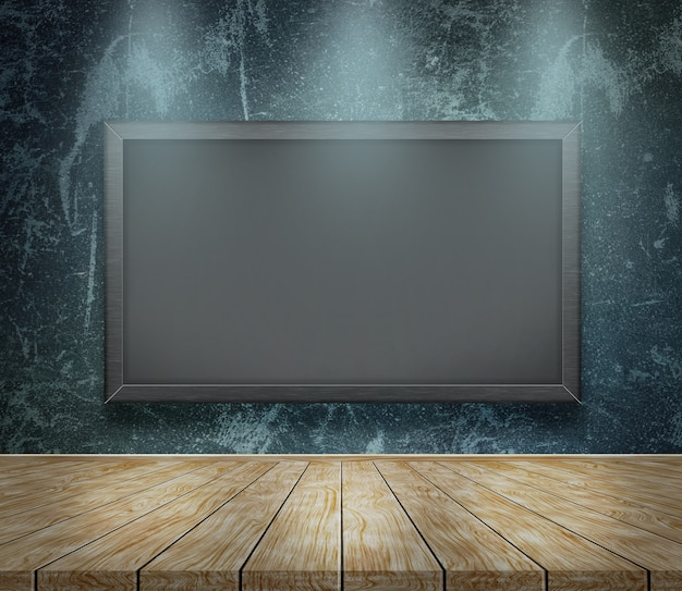Tafel auf schmutzhintergrund mit drei scheinwerfern, die unten glänzen