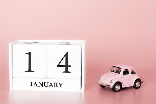 Tag 14 des januar-monats, kalender auf einem rosa hintergrund mit retro- auto.