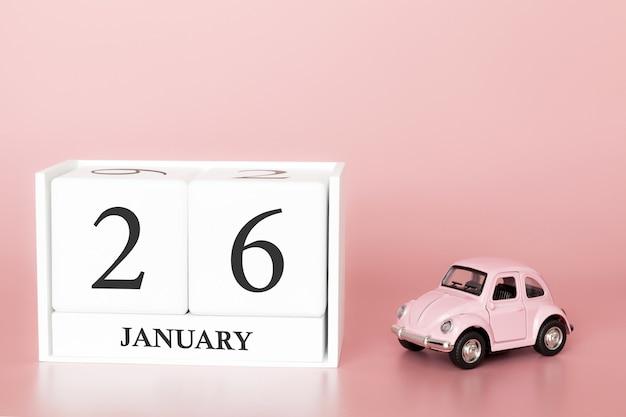 Tag 26 des januar-monats, kalender auf einem rosa hintergrund mit retro- auto.
