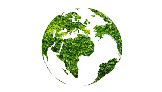 Tag der erde grüner globus auf weißem hintergrund isolieren