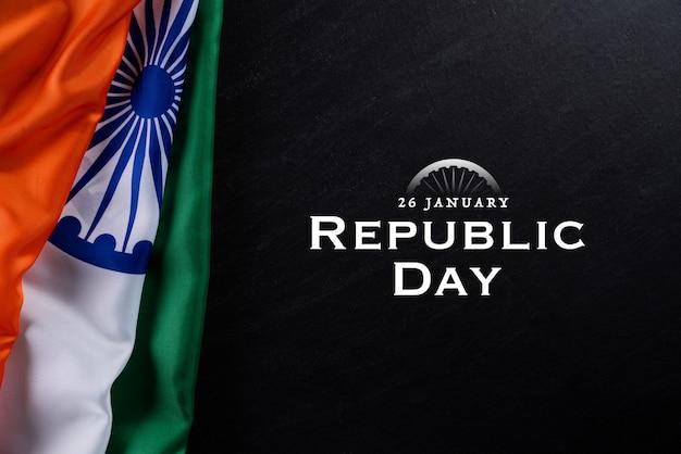 Tag der indischen republik gegen eine tafel 26. januar.
