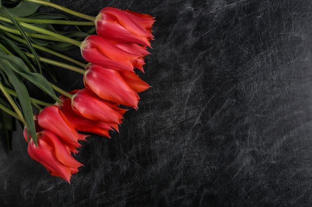Tag des lehrers oder tag des wissens, muttertag. rote tulpen auf einer kreidetafel. ansicht von oben. zurück zur schule