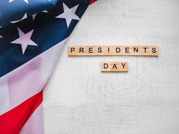 Tag des präsidenten. schöne grußkarte. draufsicht