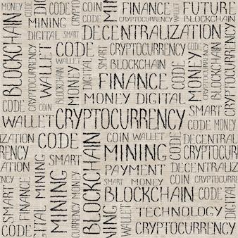 Tag-wörter-muster des kryptowährungskonzepts