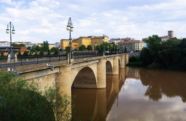 Tagesansicht von logroño. puente da piedra