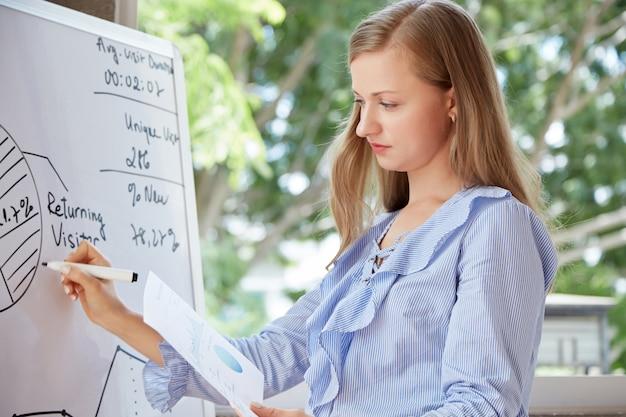 Taille herauf den schuss des kaukasischen studenten ein kreisdiagramm auf dem whiteboard zeichnend