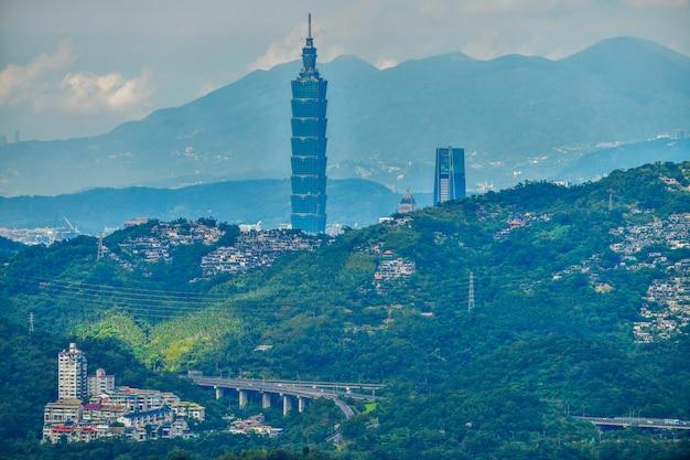 Taipeh-stadtskyline und im stadtzentrum gelegener gebäudewolkenkratzer zur abendzeit in taiwan