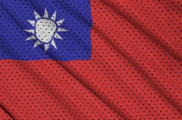 Taiwan-flagge gedruckt auf einem polyester-nylonnetz