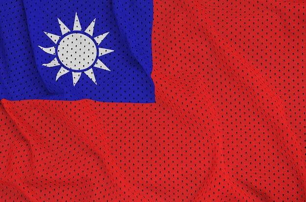 Taiwan-flagge gedruckt auf einem sportswear-netzgewebe aus polyester-nylon