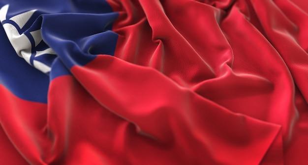 Taiwan-flagge gekräuselt schön winken makro nahaufnahme shot