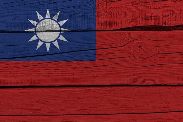 Taiwan flagge gemalt auf alten holzplanke