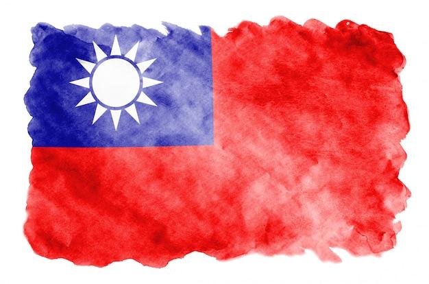 Taiwan-flagge wird in der flüssigen aquarellart dargestellt, die auf weiß lokalisiert wird