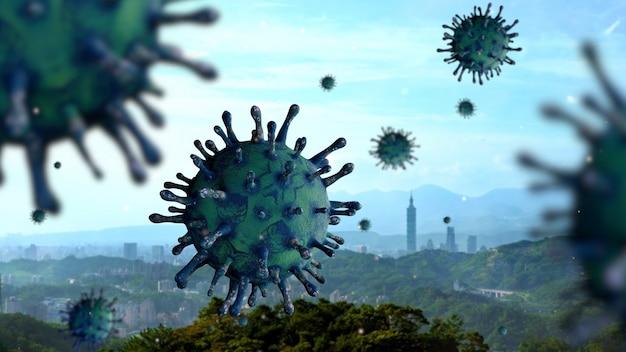 Taiwan hohe gebäude in der hauptstadt mit coronavirus 2019 konzept