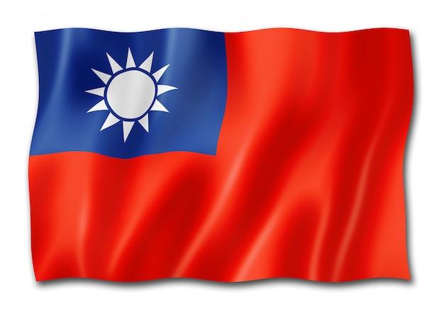 Taiwanesische flagge lokalisiert auf weiß