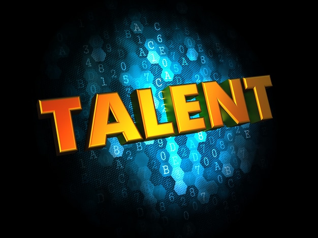 Talent concept - goldener farbtext auf dunkelblauem digital.