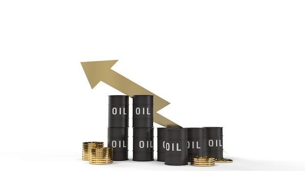 Tanköl- und goldmünzen-3d-rendering für den benzingehalt.