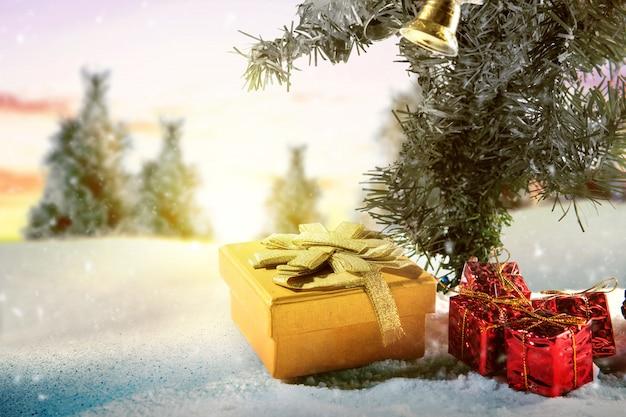 Tannenbäume und geschenkbox auf dem schnee