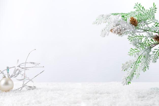 Tannenbaumzweig mit kegeln bedeckt mit schnee auf weißem hintergrund