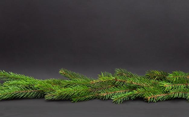Tannenzweige auf dunklem hölzernem hintergrund. weihnachten exemplar.