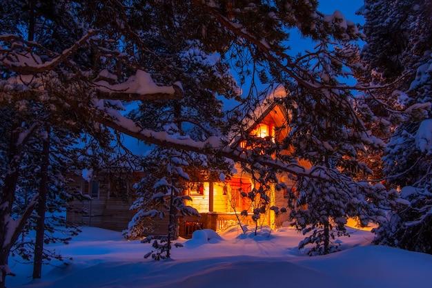 Tannenzweige mit großen schneekappen bedeckt