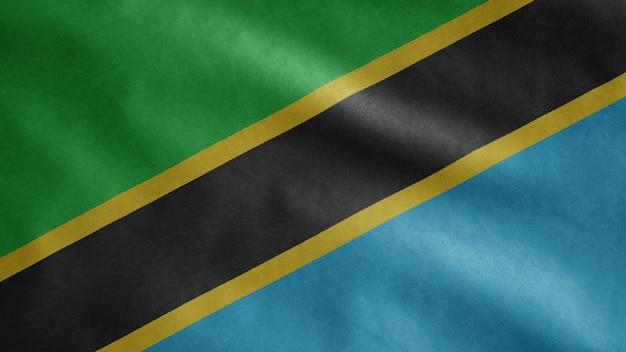 Tansanische flagge weht im wind Premium Fotos