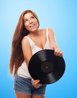 Tanzen glücklich weibliche haar vinyl