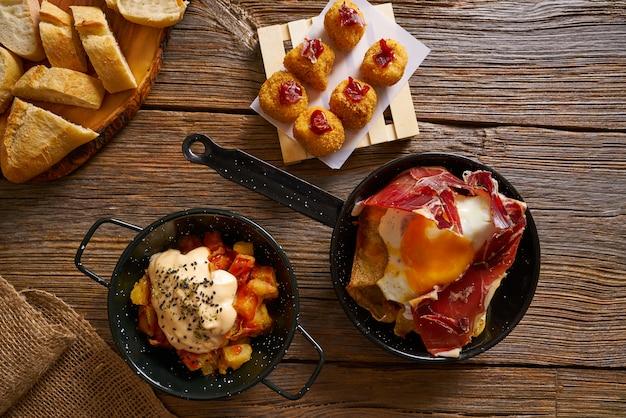 Tapas spanien gebrochene eier croquettes bravas