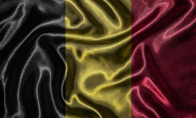 Tapete durch belgien-flagge und wellenartig bewegende flagge durch gewebe.