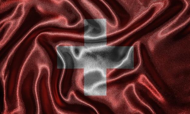 Tapete durch die schweiz-flagge und wellenartig bewegende flagge durch gewebe.