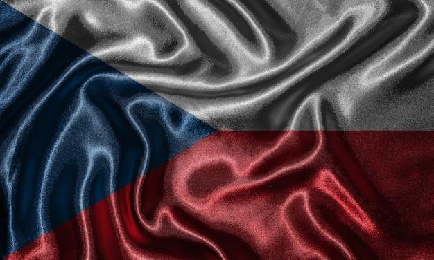 Tapete durch flagge der tschechischen republik und wellenartig bewegende flagge durch gewebe.