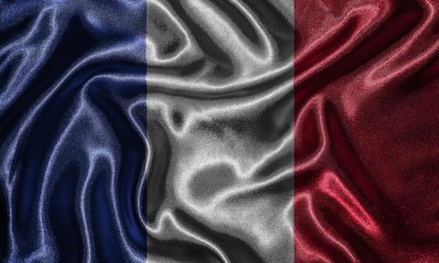 Tapete durch frankreich-flagge und wellenartig bewegende flagge durch gewebe.