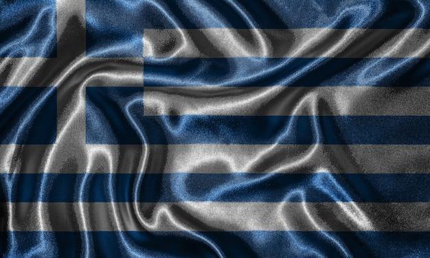Tapete durch griechenland-flagge und wellenartig bewegende flagge durch gewebe.