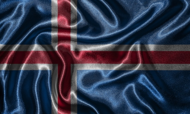 Tapete durch island-flagge und wellenartig bewegende flagge durch gewebe.