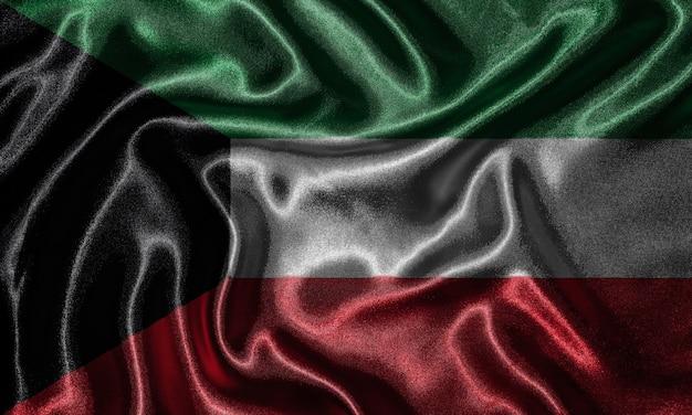 Tapete durch kuwait-flagge und wellenartig bewegende flagge durch gewebe