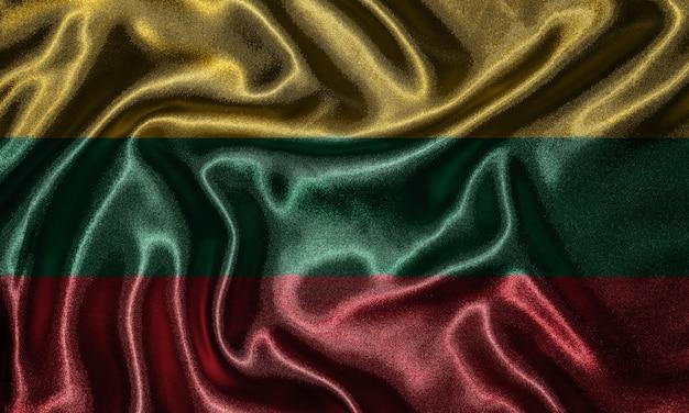 Tapete durch litauen-flagge und wellenartig bewegende flagge durch gewebe.
