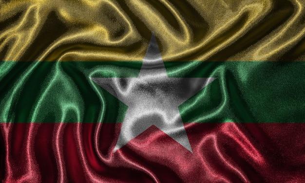 Tapete durch myanmar-flagge und wellenartig bewegende flagge durch gewebe