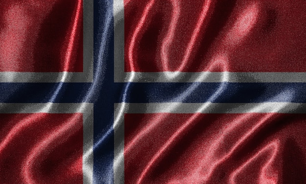 Tapete durch norwegen-flagge und wellenartig bewegende flagge durch gewebe.