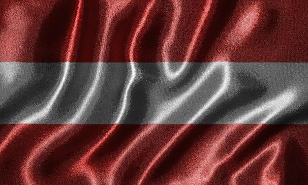 Tapete durch österreich-flagge und wellenartig bewegende flagge durch gewebe.