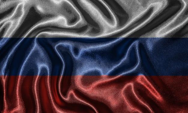 Tapete durch russland-flagge und wellenartig bewegende flagge durch gewebe.