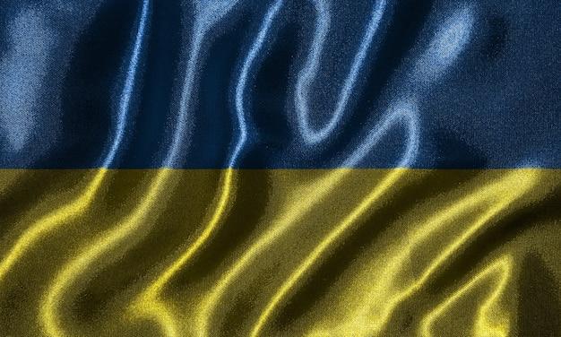 Tapete durch ukraine-flagge und wellenartig bewegende flagge durch gewebe.